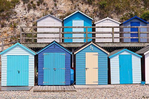 Beach hut blues at Beer, Devon