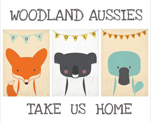 Hey, I found this really awesome Etsy listing at http://www.etsy.com/listing/151243249/retro-posters-a3-set-woodland-aussies