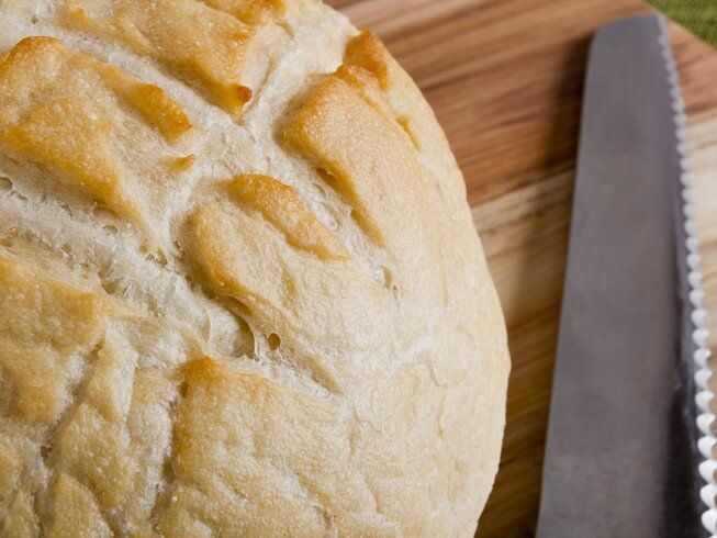 Out of yeast? No problem! This bread uses baking powder and baking soda combined with vinegar to make the bread rise.