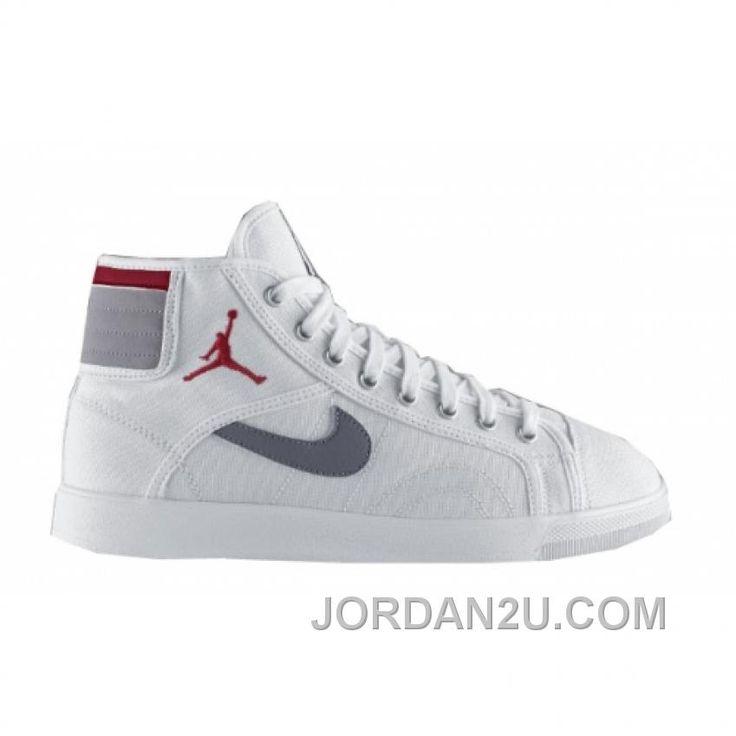 Air Jordan Sky High Canvas White Varsity Red Cement Grey 407282-101 Cheap  To Buy