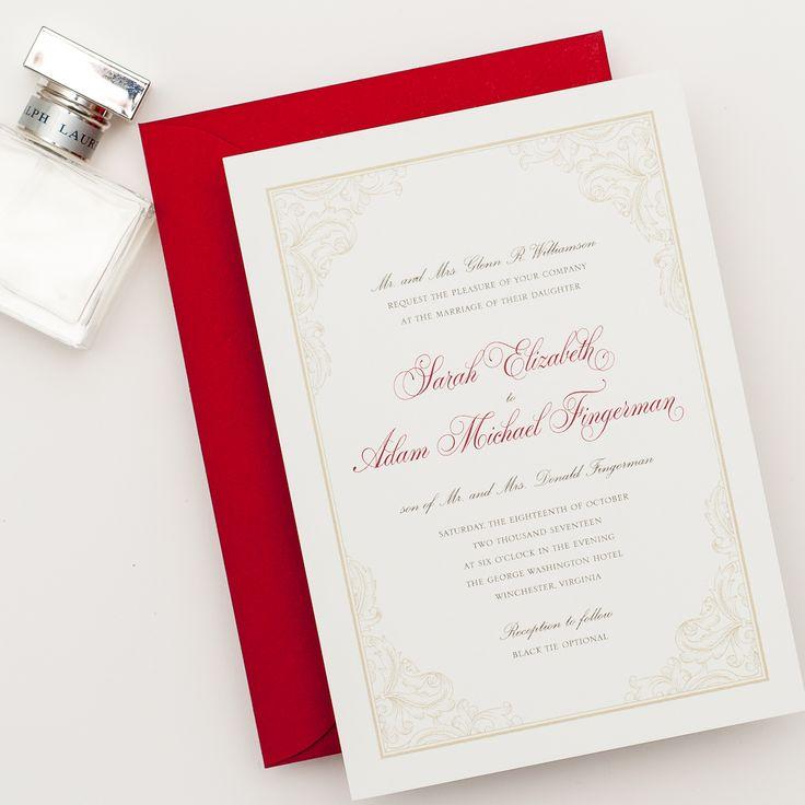VIRGINIA Wedding Invitation Elegant Ornate Border Red