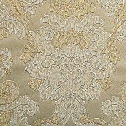 Diseño con formas de tipo barroco, en color crema, beige y oro en este papel pintado de la colección Karat de Parati.