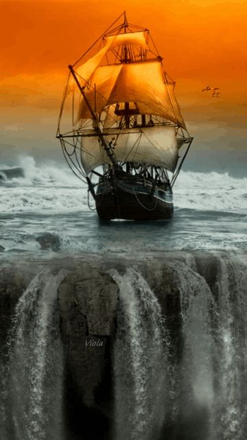 Ship on the waterfalls