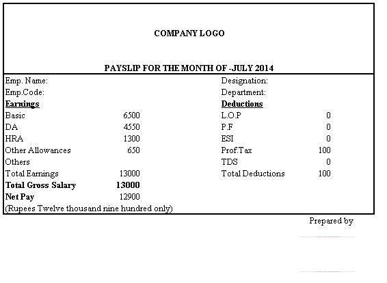 Simple Salary Slip Format Without Deductions Payroll Template