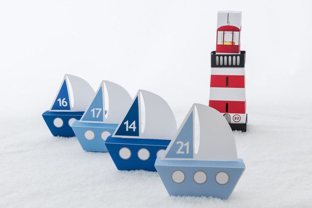 Maritimer #Adventskalender zum Falten, Weihnachtsdeko / #christmas decoration: adventscalendar with nautical design made by ThePlottery via DaWanda.com