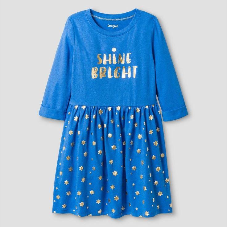 "Girls' ""Let It Shine"" Hanukkah Dress Cat & Jack - Blue XL, Girl's"