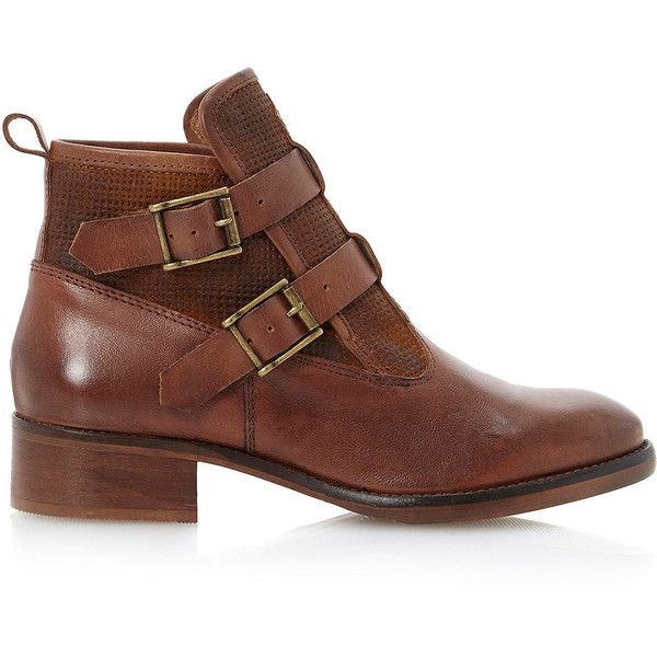 TOPSHOP **Poddy Double Buckle Embossed Boots by Bertie featuring polyvore, fashion, shoes, boots, zapatos, chaussures, botas, tan, leather shoes, real leather boots, bootie boots, tan boots and tan shoes