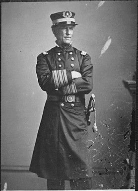 """Admiral David G. Farragut, circa 1863. Mathew Brady Collection. Farragut was the first man in US naval history to be a rear admiral, vice admiral and admiral. He is also noted for his order at the Battle of Mobile Bay, usually paraphrased: """"Damn the torpedoes, full speed ahead!"""""""