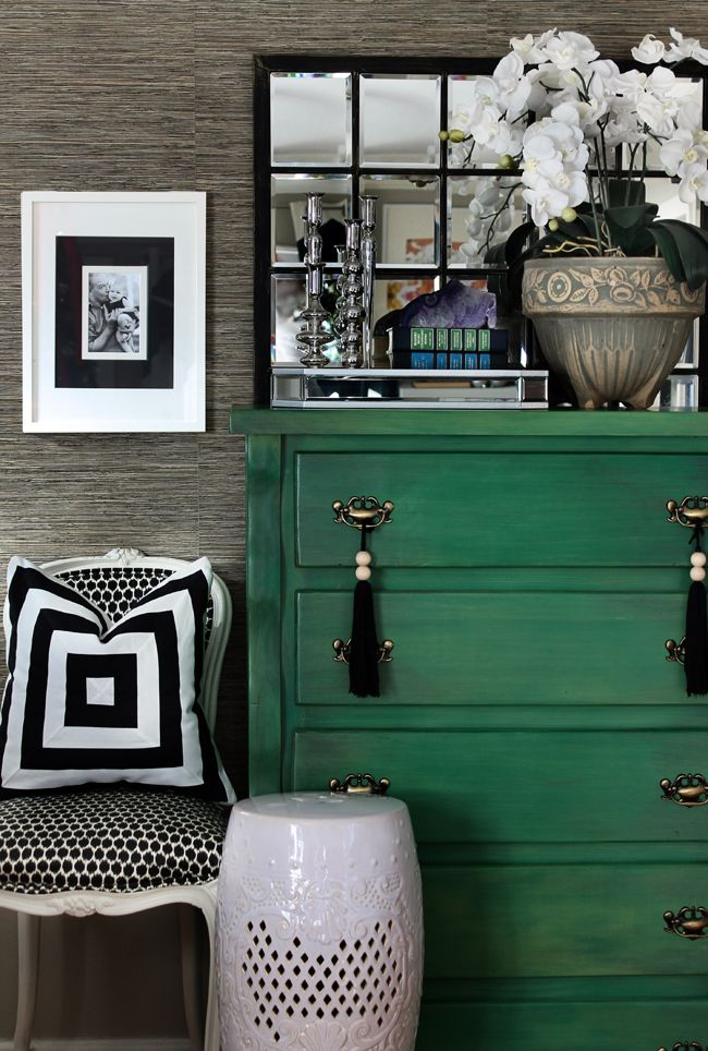 black + white + emerald green vignette by the hunted interior