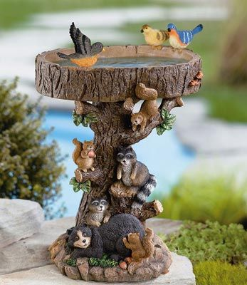 Woodland Birdbath Sculpture