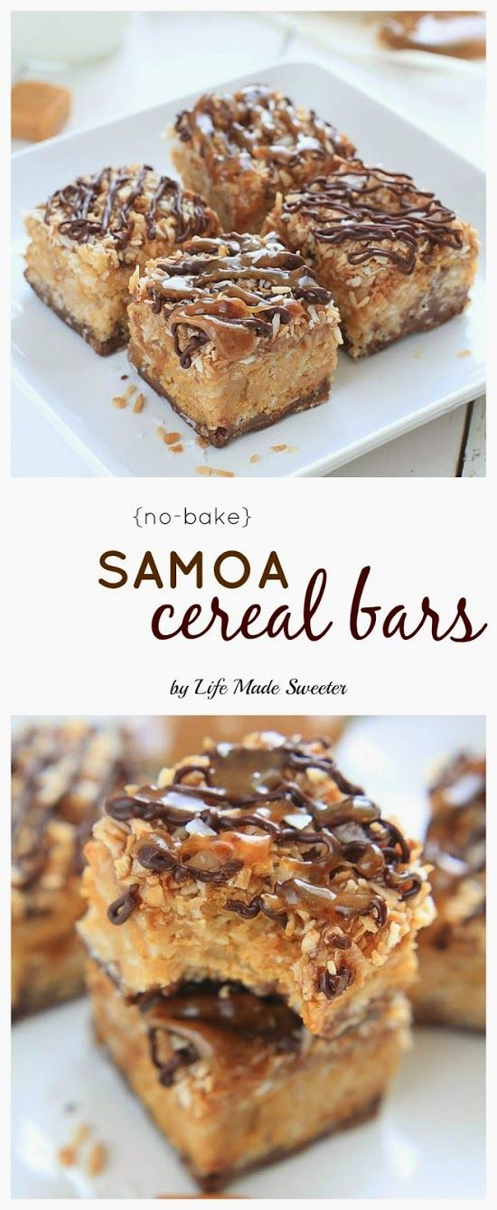 {No-Bake} Easy Homemade Samoas Peanut Butter Cereal combine the beloved caramel, chocolate and coconut flavors of the popular girl scout cookies with peanut butter and a combination of rice and honey graham cereal.