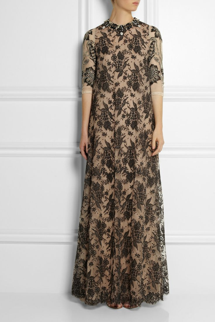 Biyan|Gracie embellished lace and tulle gown|NET-A-PORTER.COM