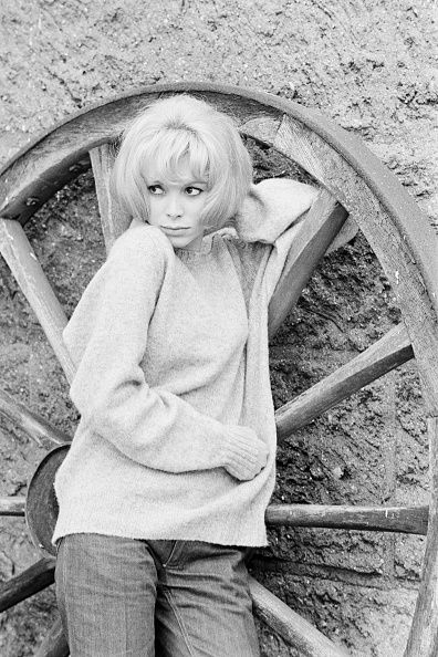 French actress Mireille Darc on the set of A Belles Dents written and directed by Pierre GaspardHuit