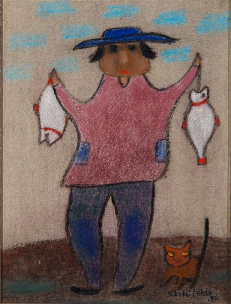 Nikolai Lehto: Kala-Eikka ja kissa, 1986, öljy, 32x25 cm - Hagelstam K131