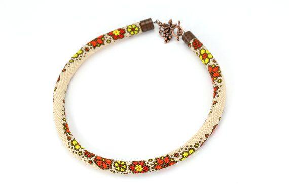 Bead Crochet Necklace Flowers Beadwork Modern