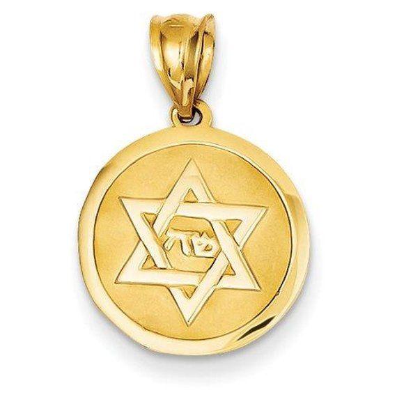 14k Yellow Gold Star Of David Pendant Star Of David Pendant Etsy In 2021 Star Of David Pendant Disc Charm Gold Stars