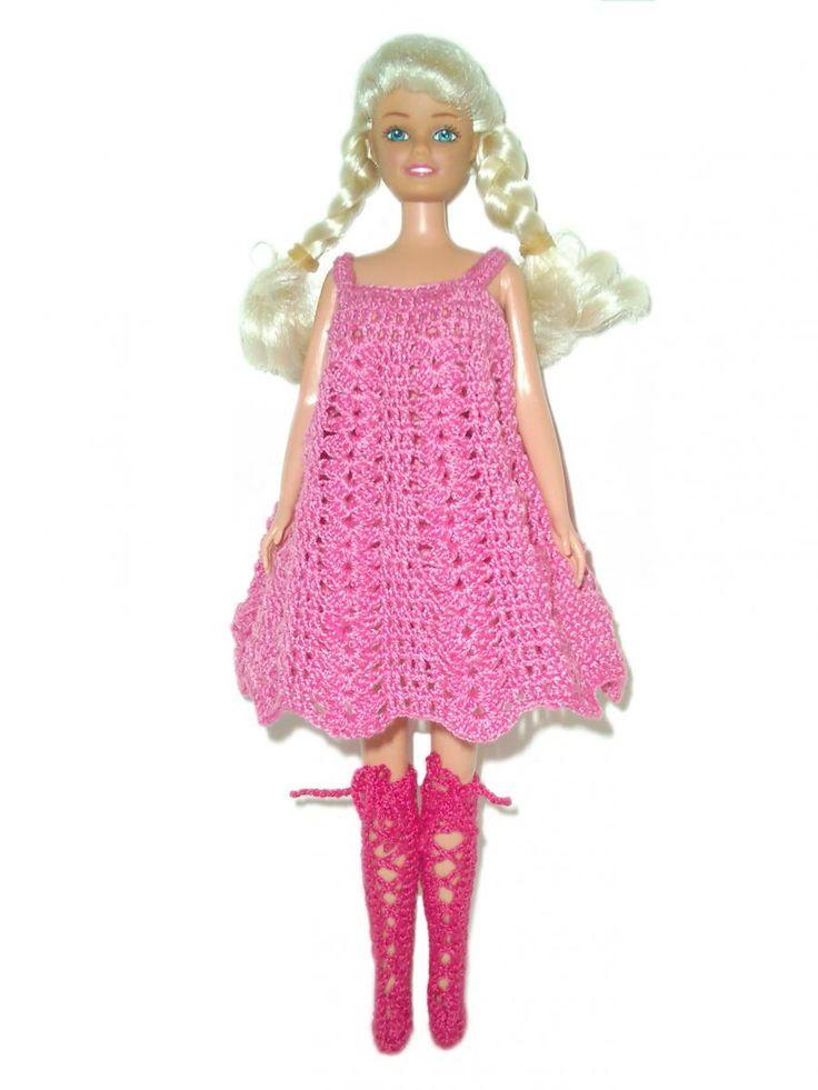 Розовый сарафан с красными сапожками | Вязаные платья на заказ Одежда для кукол крючком
