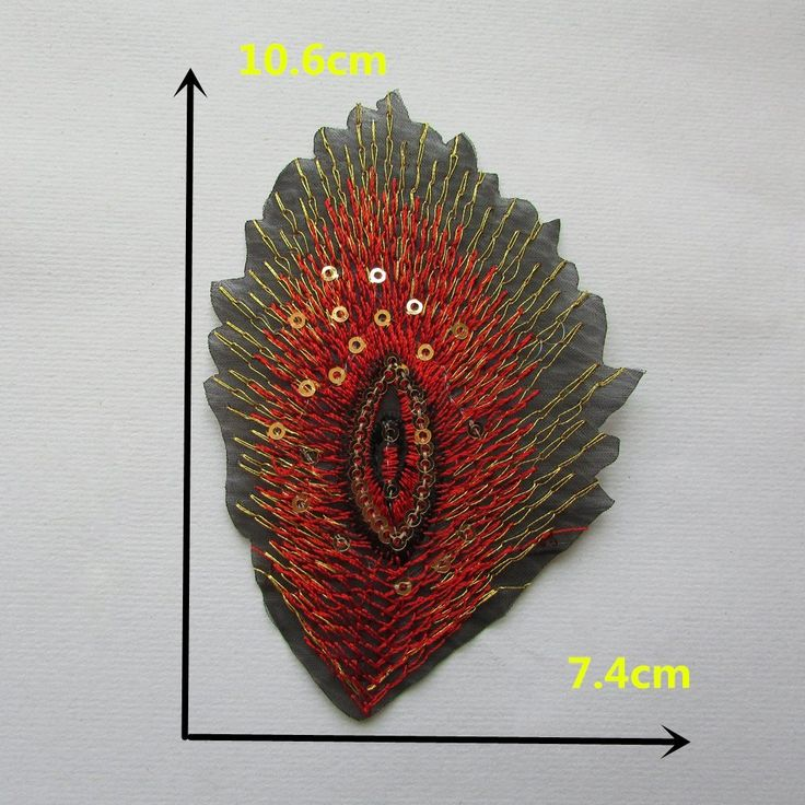 FairyTeller The Peacock Eye Red Lace With Sequins Hot Melt Adhesive Clothhing Patch Applique Embroid Ery Blossom Diy Accessories C1105 Patch -- Want additional info? Click on the image.