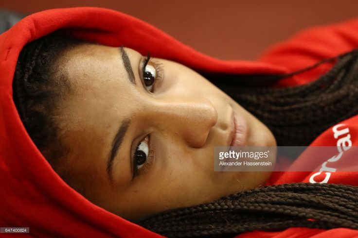 Nafissatou Thiam of Belgium relaxes during the Women's Pentathlon High Jump on day one of the 2017 European Athletics Indoor Championships at the Kombank Arena on March 3, 2017 in Belgrade, Serbia.
