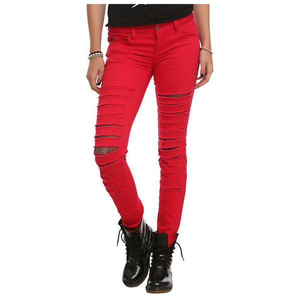 Royal Bones Red Distressed Mesh Skinny Pants | Hot Topic ($15) ❤ liked on Polyvore featuring jeans, pants, red, hot topic, torn skinny jeans, button-fly jeans, ripped jeans, tripp skinny jeans and red skinny jeans