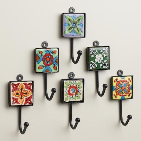 Painted Square Tile Hooks, Set of 6