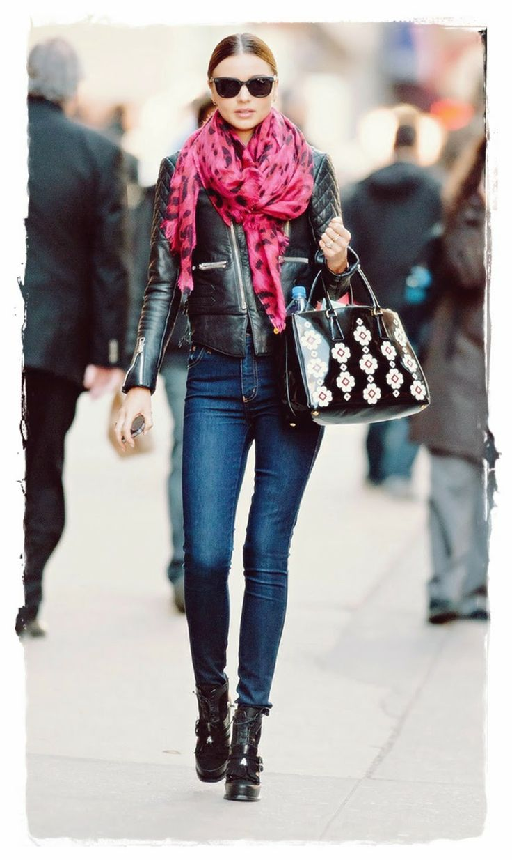 #Miranda #Kerr Handbags Style - Flowered Prada Handbag | Miranda Kerr Handbags Style - Flowered Prada Handbag Australian supermodel Miranda Kerr was spotted leaving a Manhattan office building. For her outing Miranda wore a quilted leather biker jacket, high waisted skinny jeans and black lace-up ankle booties. Miranda accessorised with a hot pink printed scarf and flowered Prada handbag.