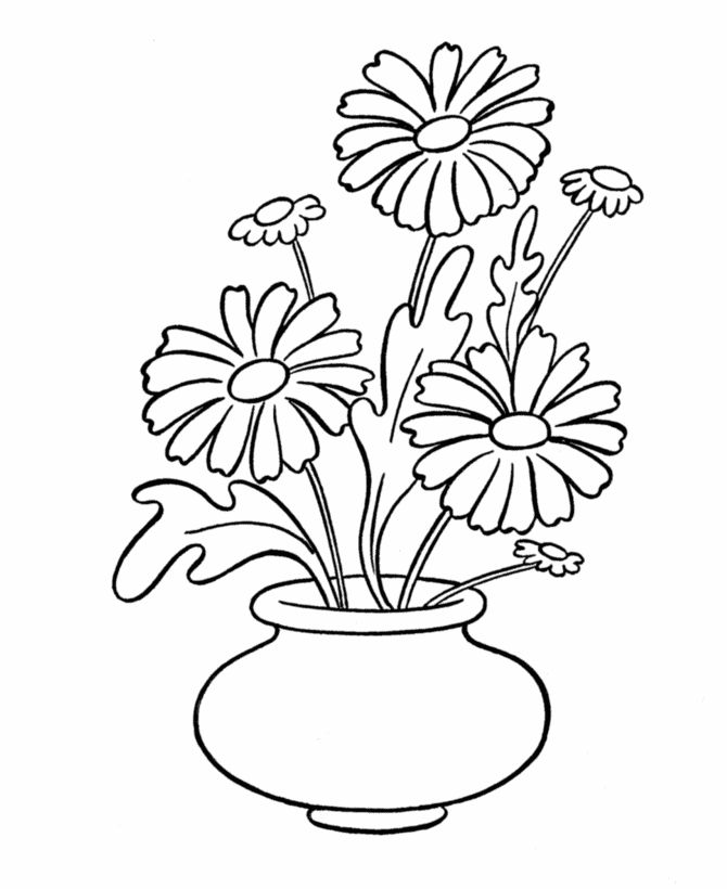 Draw Vase Of FlowersVasePrintable Coloring Pages Free Download