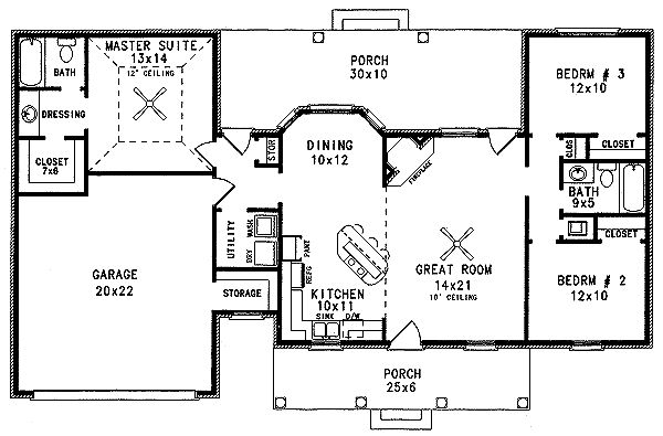 Country Style House Plans - 1298 Square Foot Home , 1 Story, 3 Bedroom and 2 Bath, 2 Garage Stalls by Monster House Plans - Plan 14-115