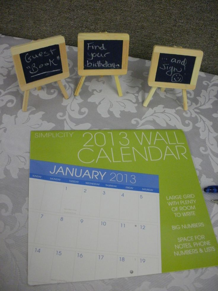 Super cute guestbook alternative. Use a calendar and have all attendees sign on their birth date