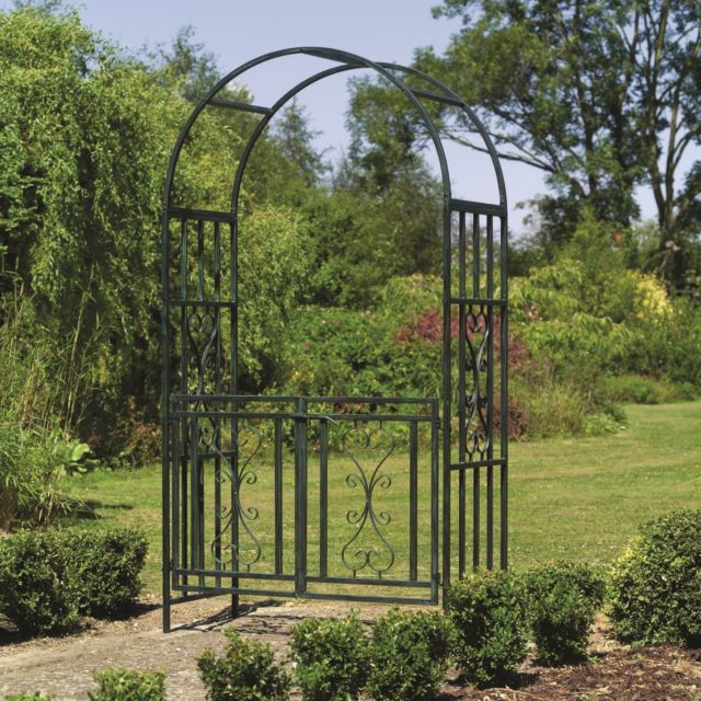 Kensington Metal Garden Arch with Gates  - Rose Arches and Gate Ways