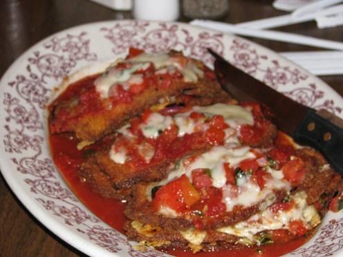 Buca di Beppo : Eggplant Parmigiana and Manicotti