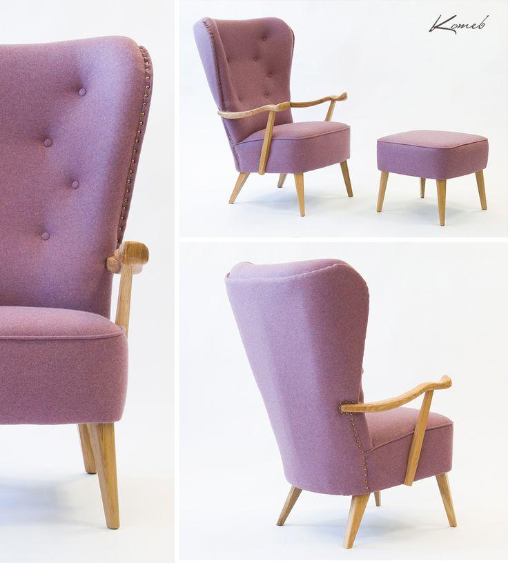Armchair William / Fotel William Piękny kształt oparcia i podłokietników podkreśliliśmy wrzosowym odcieniem tkaniny i naturalnym drewnem.