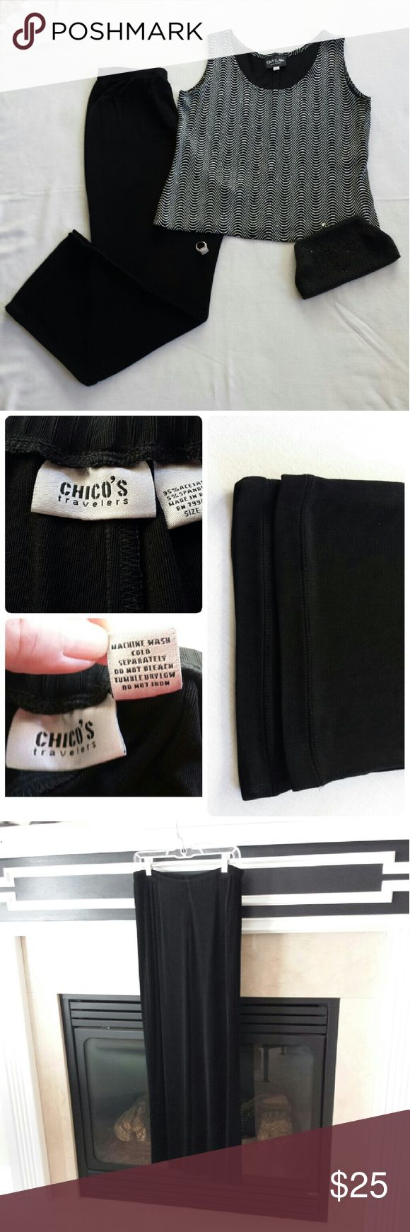 "Chico's Dressy Pants  Size 2 EUC Part of Chico's Travelers Line. Extremely comfortable, easy to wash, dress up or down. There is a shimmery effect to the material, and that is why I consider them dressy. The waist measures 14"" W, but stretches another 8 to 10 "". 26"" inseam, 12"" rise. Smoke free and fragrance free home. Reasonable offers,  only, please. Chico's Pants Boot Cut & Flare"