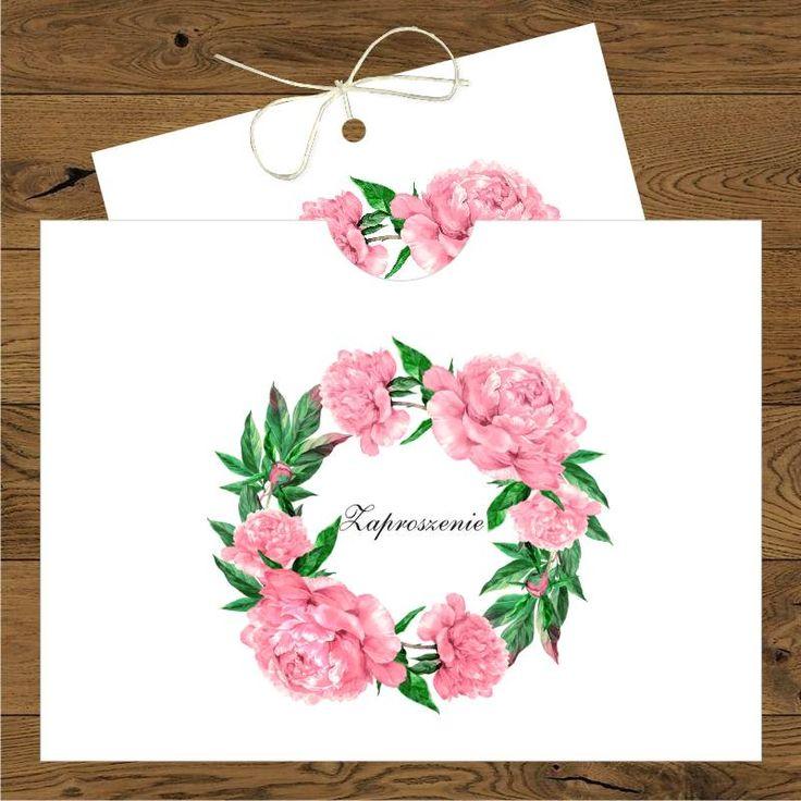 Zaproszenia ślubne z różowymi piwoniami