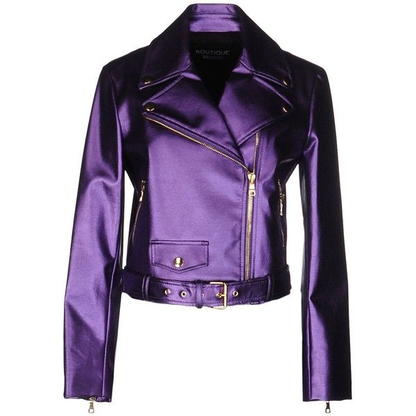 BOUTIQUE MOSCHINO Biker jacket ❤ liked on Polyvore featuring outerwear, jackets, rider jacket, motorcycle jackets, moto jacket, biker jacket and purple biker jacket
