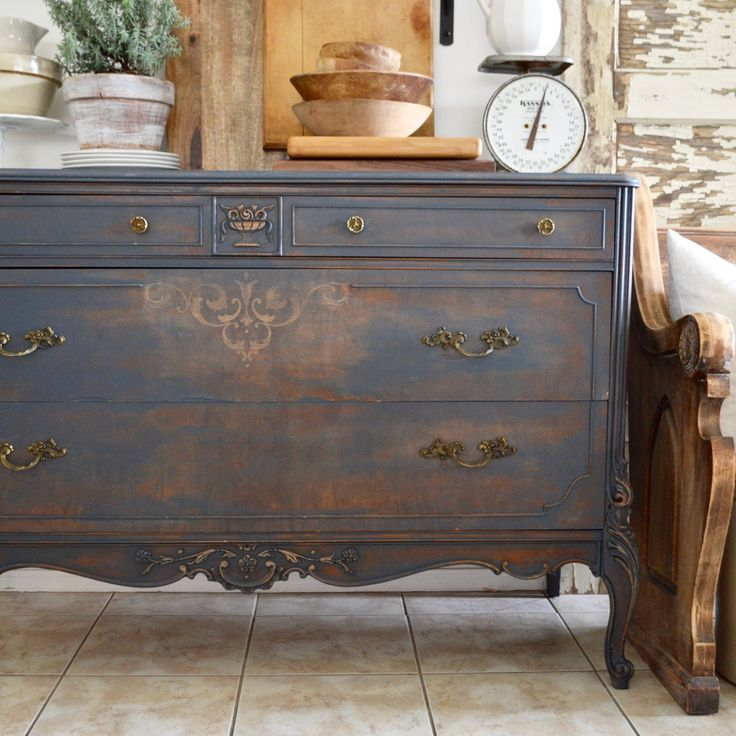 Vintage French Soul ~ Chalk Painting An Old Dresser