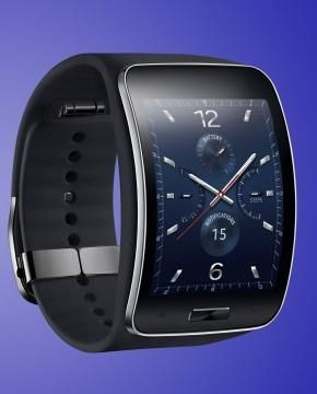 The Samsung Gear S in black.