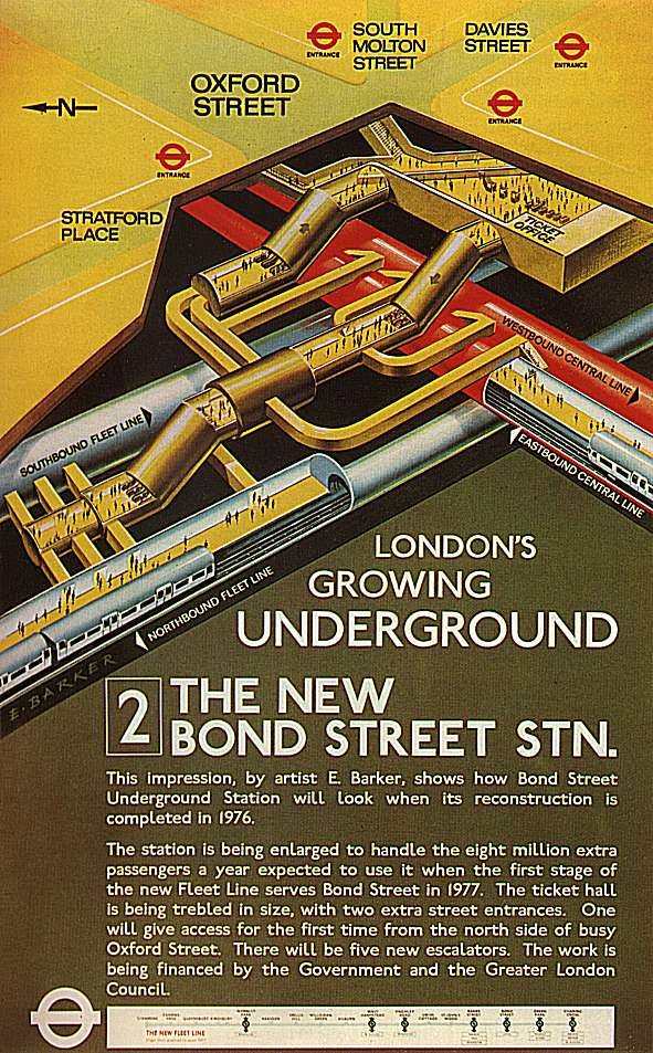 """3D Cutaway poster from 1970 predicting what """"new"""" Bond Street Tube would look like"""