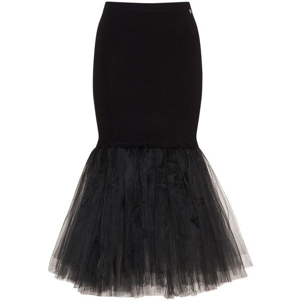 Mat Black Plus Size Tulle and jersey skirt ($105) ❤ liked on Polyvore featuring skirts, black, plus size, plus size knee length skirts, layered skirt, plus size long skirts, plus size jerseys and long skirts