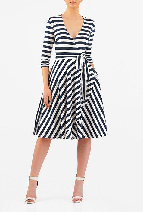 I <3 this Stripe cotton jersey knit faux- wrap dress from eShakti