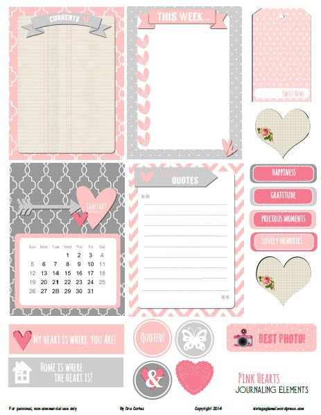Free Printable Download -  Pink Hearts Journaling Elements