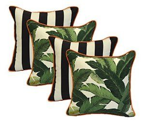 """Amazon.com: Set of 4 - Indoor / Outdoor 17"""" Square Decorative Throw / Toss Pillows - Black and White Stripe & Tommy Bahama Green Tropical Swaying Palms w/ Orange Piping / Cording - Zipper Cover & Insert: Home & Kitchen"""