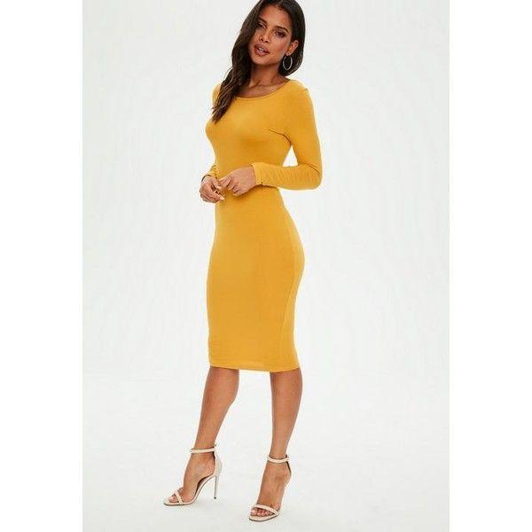 Yellow lace low neckline midi long sleeve dress