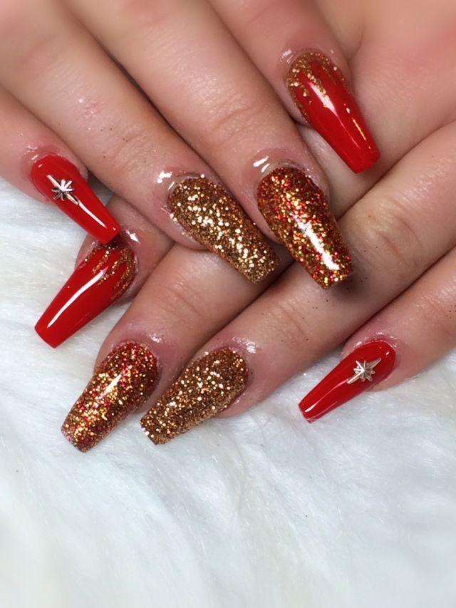Red And Gold Christmas Nails : christmas, nails, Christmas, Nails, Nailstyle, Nails,, Fancy, Designs