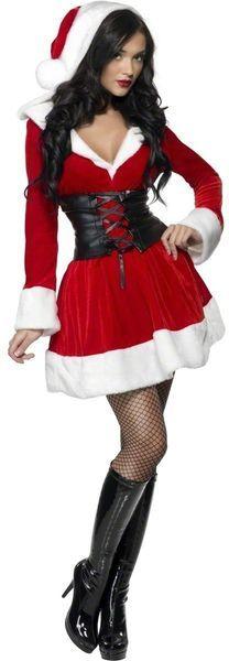 Naamiaisasu; Miss Pikkujoulu.  Miss Pikkujoulu asu. Tässä asussa saat takuulla joulupukin posket punaisiksi… Sisältää: - Mekon tonttulakin mallisella hupulla - Paksun korsettivyön