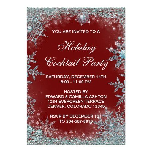Red Teal Blue Snowflake Christmas Party Card. Quinceanera  EinladungenEinladungskartenEinladungen OnlineWeihnachten ...
