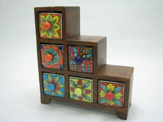 Brightly coloured ceramic drawers in multiple sizes and colours