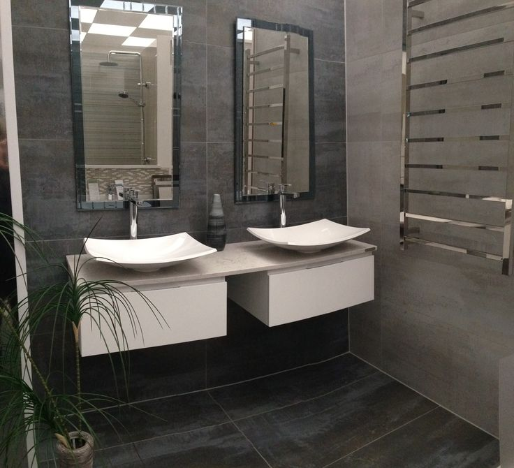 VERSUS twin basins on wall hung vanity units with Caesarstone top