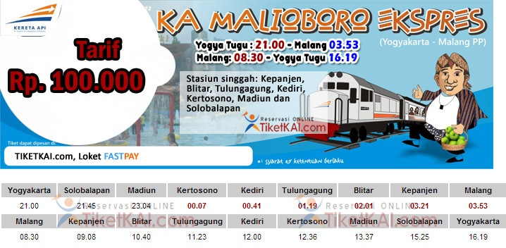 Jadwal Kereta Api Malioboro Ekspress Yogyakarta-Malang PP