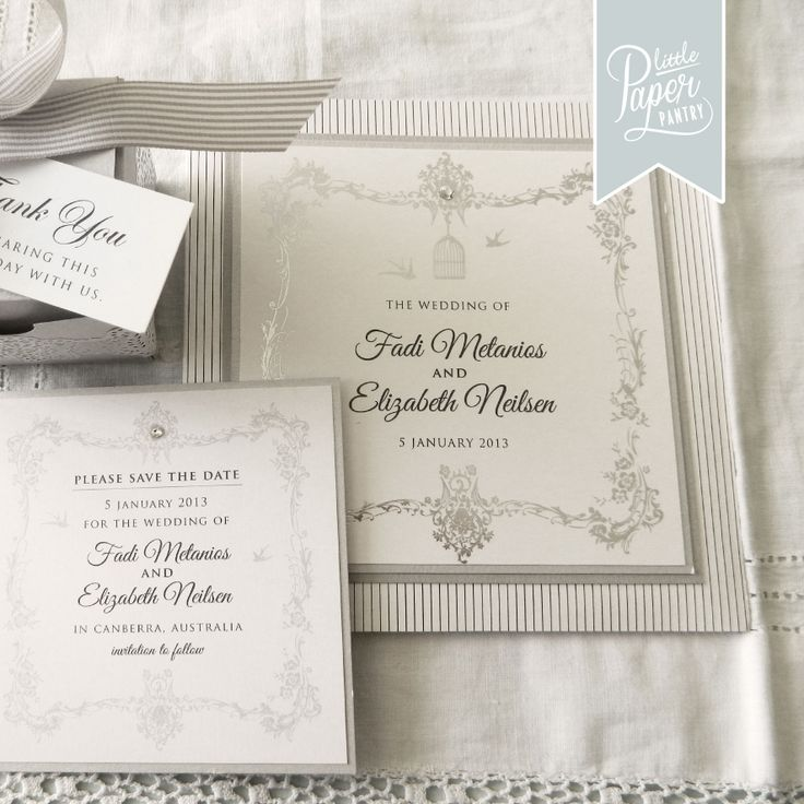 Square invite with a marquee birdcage design, stripes and silver foil.